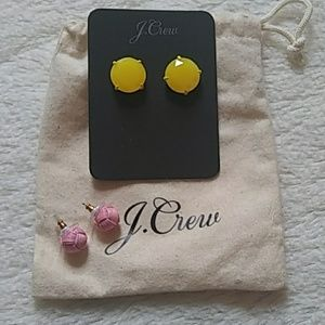 J. Crew earrings **two pairs** Pink & Yellow